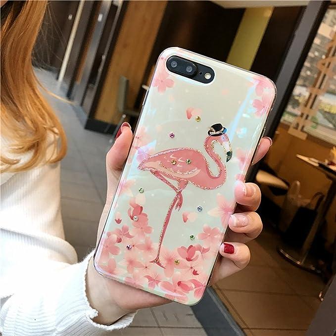 SainCat Funda iPhone 6/6S 4.7 Pulgada, TPU Funda Carcasa Flamencos Pintado Patrón Cover Bumper Funda Transparente Funda Diamantes Brillos Purpurina ...