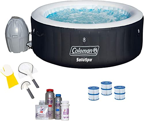 Coleman SaluSpa 4 Person Spa w Cleaning Tools, Filter Cartridge, Bromine Kit