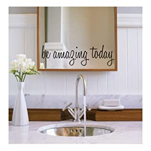 Bestjybt Be Amazing Today Waterproof Removable Decal Mirror Quotes Vinyl Wall Decals Walls Stickers Home Decor