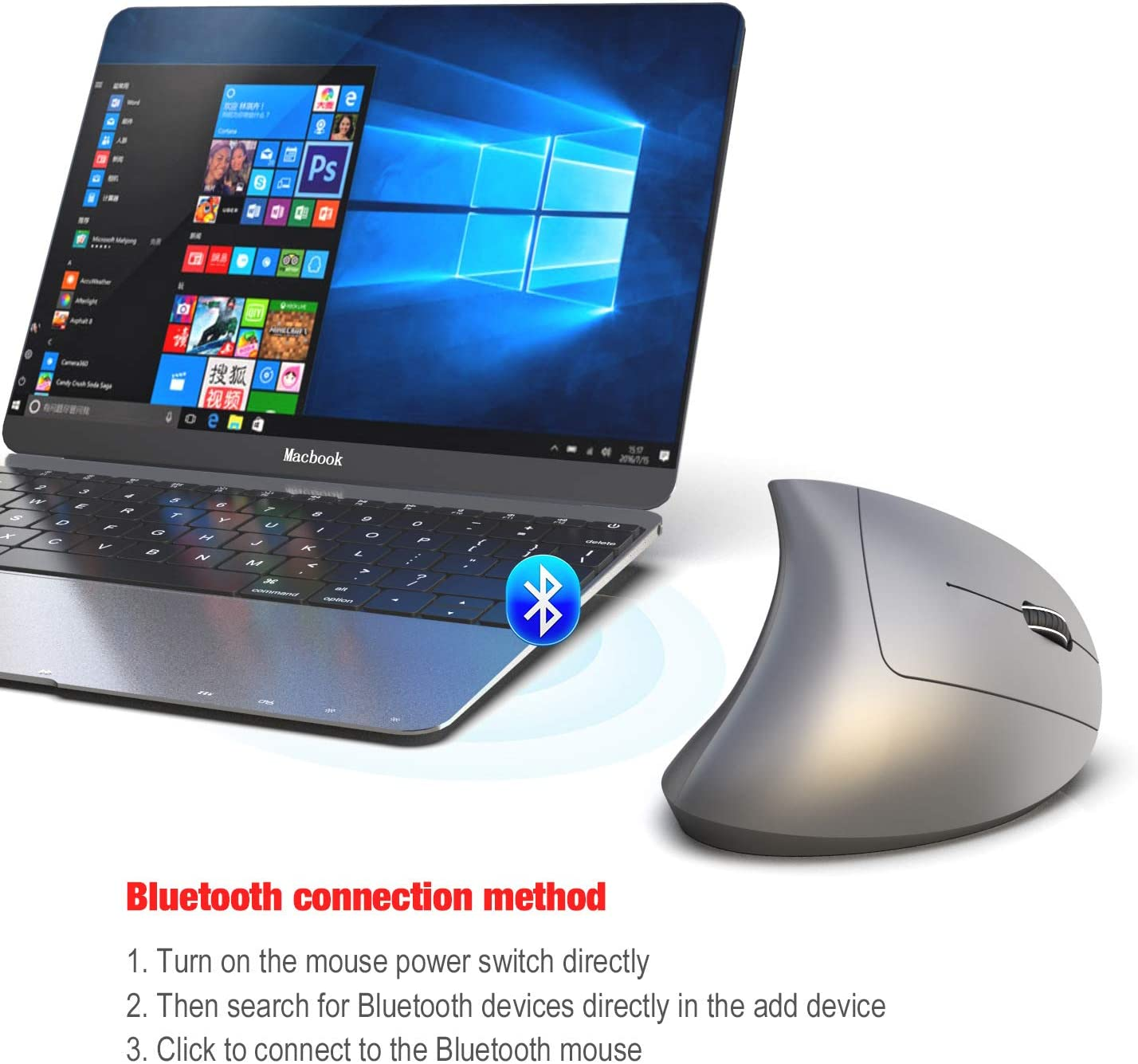 SSEDEW Bluetooth Vertical Mouse Ergonomics 800//1600//2400DPI Prevention Mouse Hand Game Office Mouse PC Notebook Accessories Gray