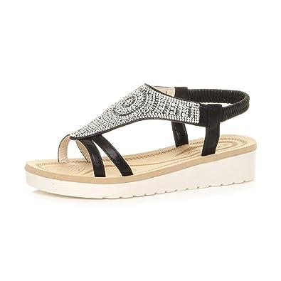 0351ea0f2c3 Ajvani Womens Ladies Low Wedge Heel Flatform Diamante t-bar Slingback  Sandals Size 4 37