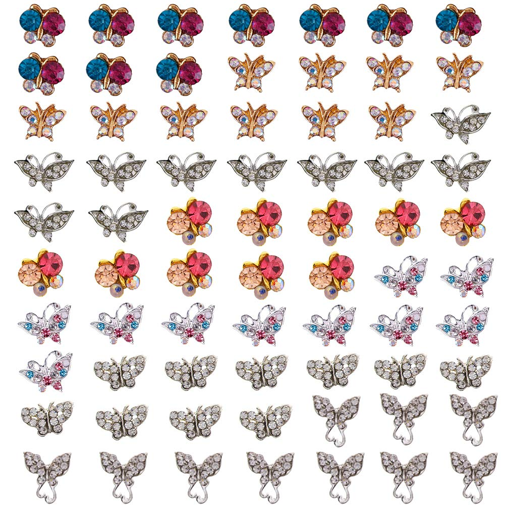 Ownsig 70Pcs 3D Colorful White Rhinestones Butterfly Nail Art Glitter Decoration Sticker DIY Set