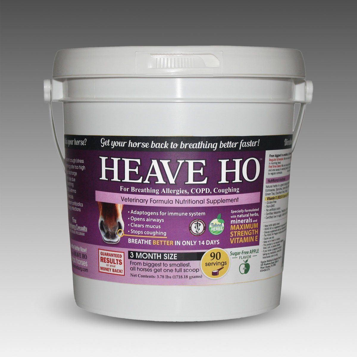 Equine Horse Heave Ho for Heaves, Chronically Allergic Airway, COPD, Asthma Flavor: Apple