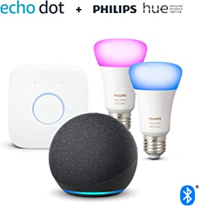 Echo Dot (4ª generazione), Antracite + Philips Hue Color Starter Kit 2 Lampadine Smart (E27), compatibile con Alexa
