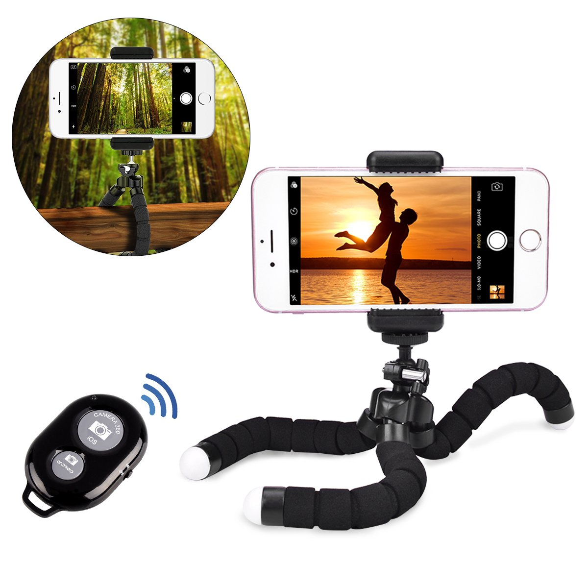 LLARIMIN Flexible Tripod Holder- Portable and Adjustable Octopus Style Tripod Stand Holder with Bluetooth Wireless Remote Shutter and Universal Clip for iPhone, Android Phone, Camera