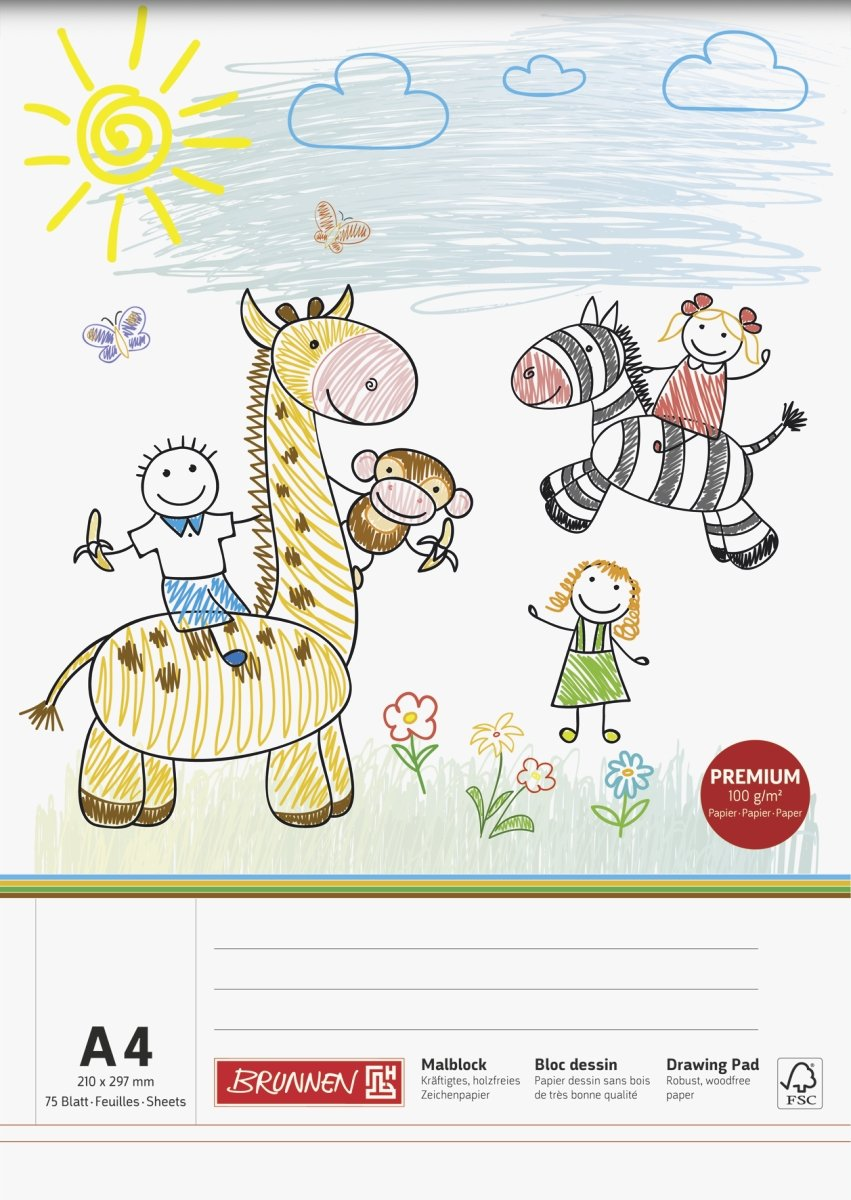 formato A4 Blocco da disegno 100 g//mq tema: disegni di bambini Brunnen vari motivi 75 fogli 210 x 297 mm