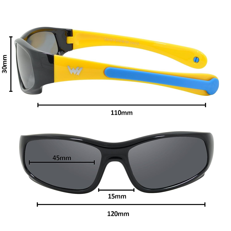 WHCREAT Kinder Wrap Sport Polarisierte Sonnenbrille Flexibel Gummirahmen mit Anti-Rutsch Band f/ür M/ädchen Jungen Alter 3-6