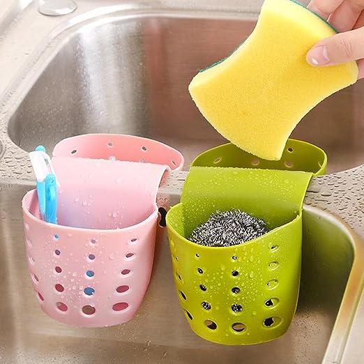 Mackur drenare cesto portaoggetti da appendere lavello rack porta spugna per utensili da cucina e bagno gadget 1PCS 9.4*9.5 CM Pink