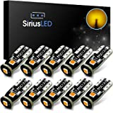 SiriusLED 3030 PX Chipset Super Bright Compact Wedge LED Bulbs for Interior Car Lights License Plate Dome Map Courtesy Side Marker T10 168 194 2825 W5W Amber Yellow Pack of 10