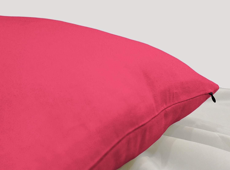 Encasa Homes Fundas de Cojines 2 Piezas (50x50 cm) - Rosa Fuchsia - Lona de algodón teñida Forma sólida, Decorativa, Grande y Colorida, Lavable Funda ...