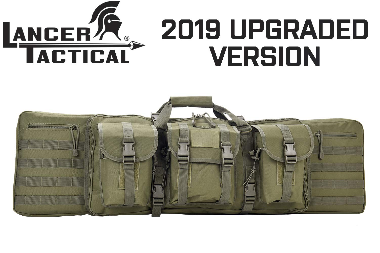 Lancer Tactical 600 Denier Polyester Double Carbine Soft Case Accessory Pouches MOLLE Webbing Secondary Gun Compartment Quick Detach Buckles Inner Storage Backpack Straps (42'' INCH, Olive DRAB Green) by Lancer Tactical