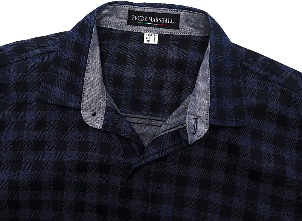 FaiSky Mens Slim-Fit Long-Sleeve Casual Button Down Plaid Shirt, Navy Blue