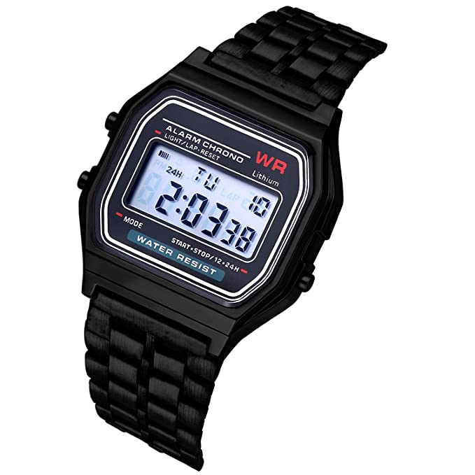 guoxuEE Moda Vintage LED Reloj Digital Correa de Acero Inoxidable Reloj de Pulsera Reloj de Pulsera de Negocios Reloj de Pulsera para Hombres Mujeres: ...