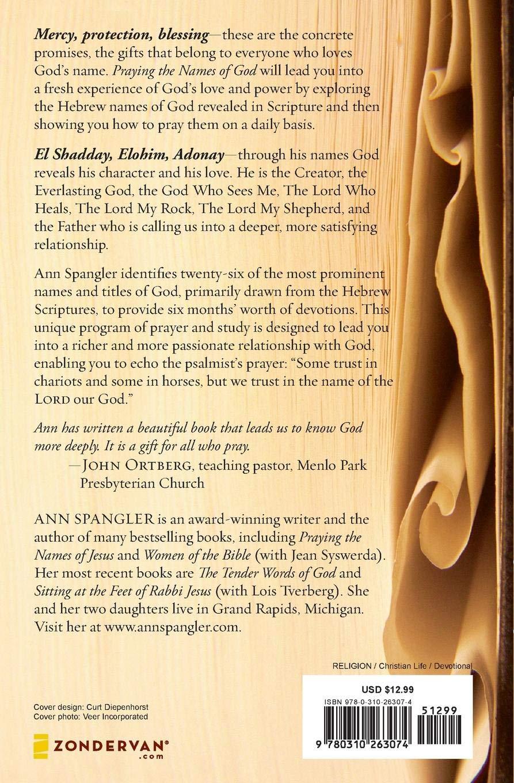 Praying The Names Of God: Ann Spangler: 9780310263074: Books