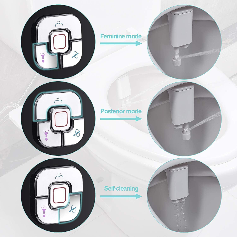 double buses r/étractables autonettoyantes pour lavage avant et arri/ère Nickel bross/é SAMODRA Fixation pour bidet non /électrique /à eau froide avec commandes de pression