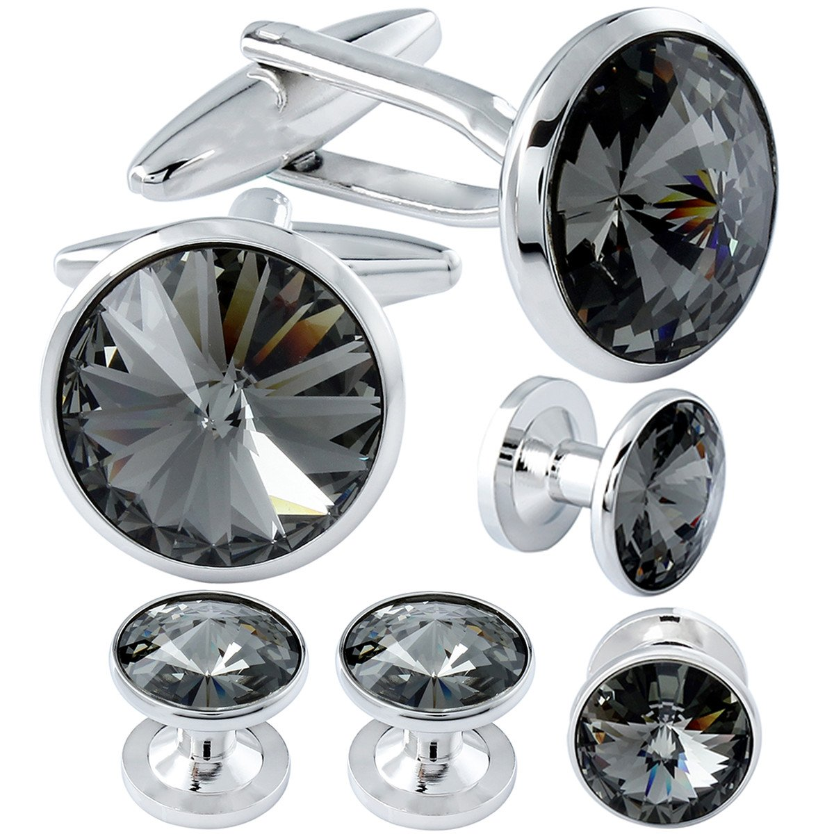 HAWSON Cufflink and Studs Tuxedo Set Silver Color with Swarovski Crystals in Grey by HAWSON (Image #1)