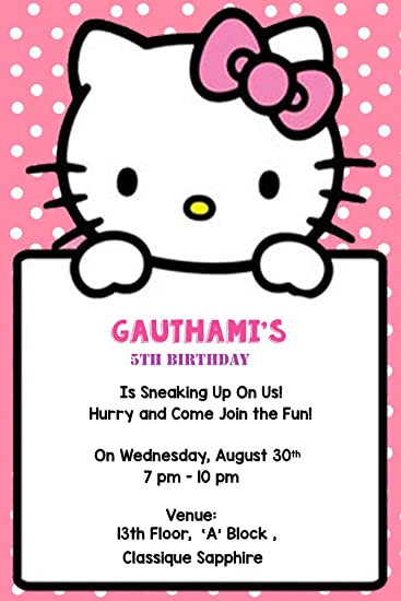 Buy WoW Party Studio Boys And Girls Artboard Personalized Hello Kitty Theme Birthday Invitation Cards With Name Multicolour