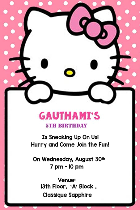 Wow party studio boys and girls artboard personalized hello kitty wow party studio boys and girls artboard personalized hello kitty theme birthday invitation cards with name stopboris Image collections