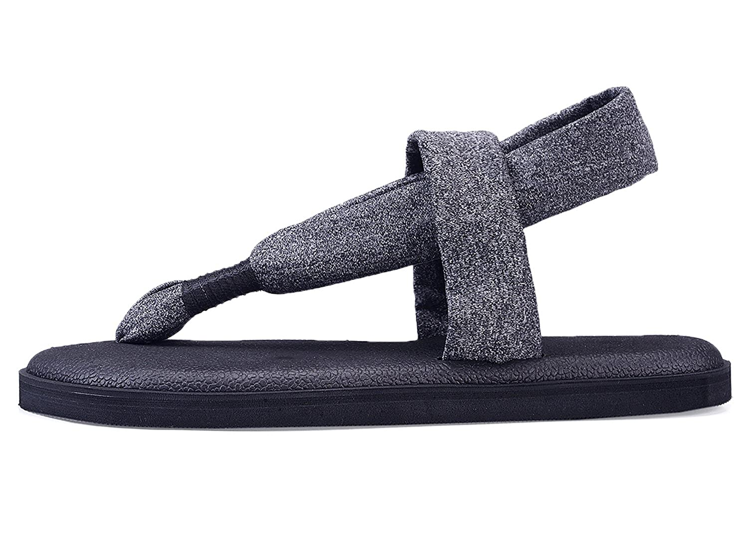 fa981e912c86 Santiro Black Flat Women Sandals Shoes Yoga Mat Sole Sling Thong Sandals  Lightweight Slingback Flip-Flops SSD003B7-42  Amazon.co.uk  Shoes   Bags