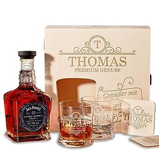 polar-effekt Caja de madera con Jack Daniel 's Whisky Single Barrel Tennessee | Juego de 6Whisky Set de regalo incluye grabado diseño inicial Ornament