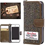 iPhone 7 Wallet Case MONOJOY Vintage Harris Tweed Flip Cover Fabric and PU Leather Folio Book Shell with Credit Card Holder, Money Pouch, Keying, Magnetic Clasp, Handmade Purse(Coffee)