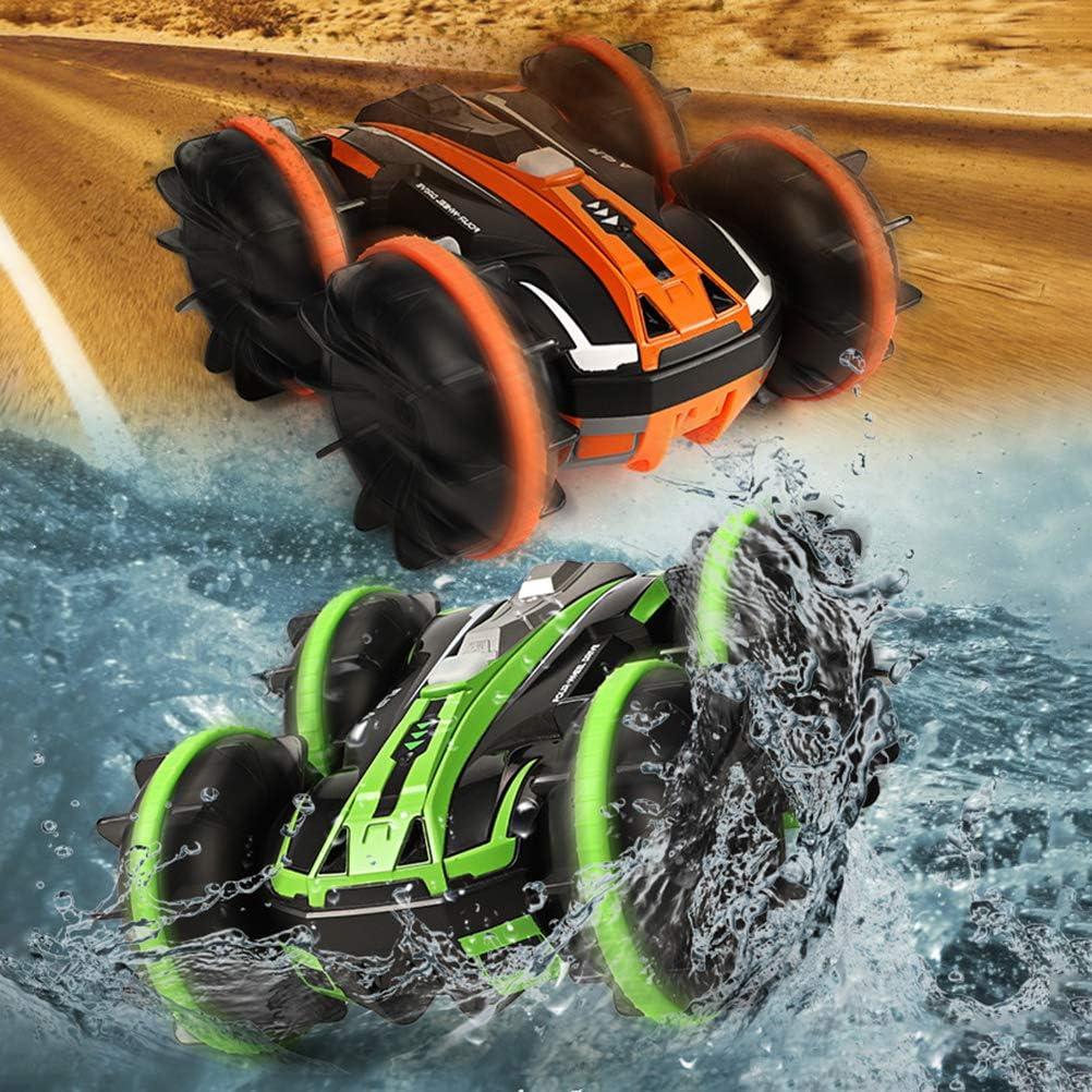 Bestevery Ferngesteuertes Auto Boot Gel/ändewagen 4WD 2,4 GHz Land Wasser 2 in 1 RC Spielzeugauto Multifunktion Wasserdichtes Stunt Fahrzeug mit rotierendem 360 Elektroauto f/ür 5-12 Jahre Jungen