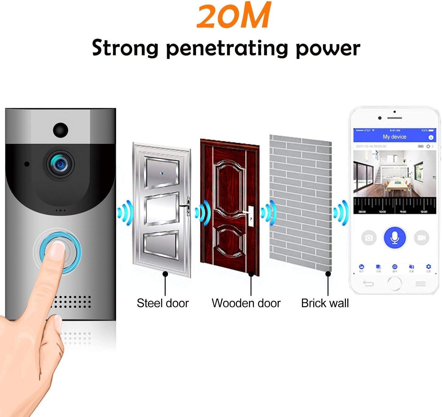 cam/éra de s/écurit/é IP65 /étanche DoorBell 720P HD Wifi dans une m/émoire 32G avec Glockenspiel et batterie rechargeable BlumWay Sonnette vid/éo sans fil contr/ôle des applications pour iOS et Android