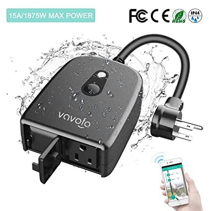 Outdoor Smart Plug WiFi Outlet Waterproof Wireless Power Strip Socket with  Timer & Countdown, Compatible with Alexa, Google Home and IFTTT, Remote