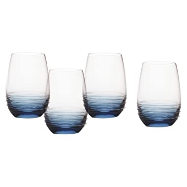 Mikasa Swirl Cobalt Stemless Wine Glass (Set of 4), 16.5 oz