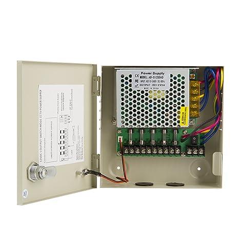 amazon com lapetus 4 channel port output 12v5a dc cctv ptc fuse rh amazon com