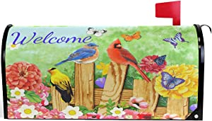 """Wamika Spring Flower Birds Butterfly Daisy Mailbox Cover Magnetic Standard Size Roses Poppy Letter Post Box Cover Wrap Decoration Welcome Home Garden Outdoor 21"""" Lx 18"""" W"""