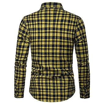 QUICKLYLY Camisa Cuadros Hombre Manga Larga Franela//Le/ñador//Capucha Camisas Vestir Fiesta Slim Fit Cuello Mao,Camisas Negocios Moda Masculina Un Solo Pecho Tops