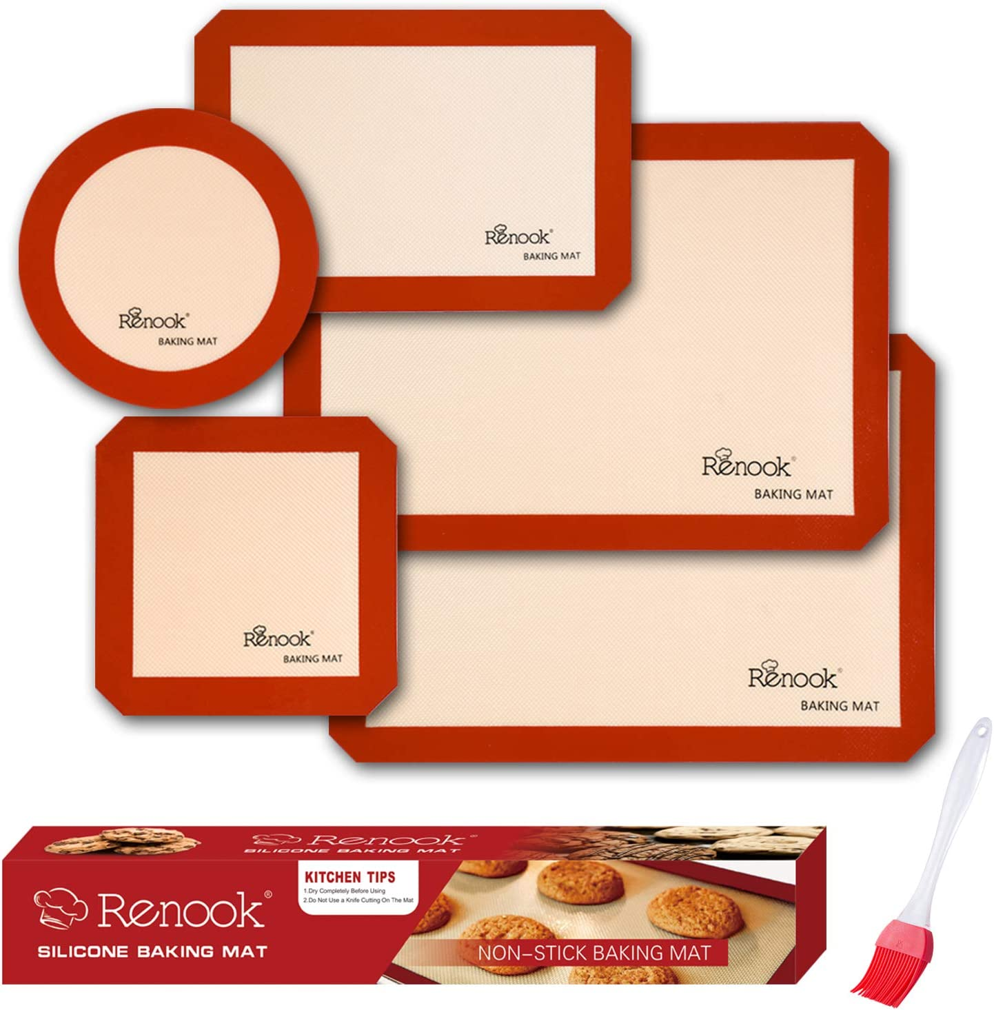 RENOOK Silicone Baking Mats Set of 5-2 Half Sheets Mats + 1 Quarter Sheet Liner + 1 Round & 1 Square Cake Pan Mat - 100% Non-stick Reusable Food Safe Liners & silicone brush- Macaron, Pastry, Cookie
