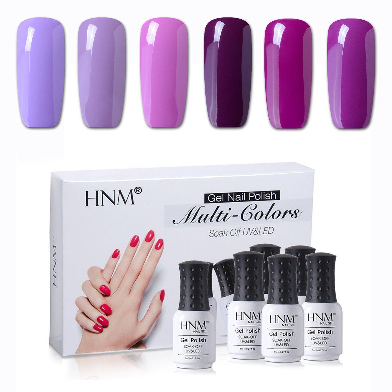 Gel Nail Polish Hnm 6 Colors Combo Uv Led Soak Off Nail Art Manicure