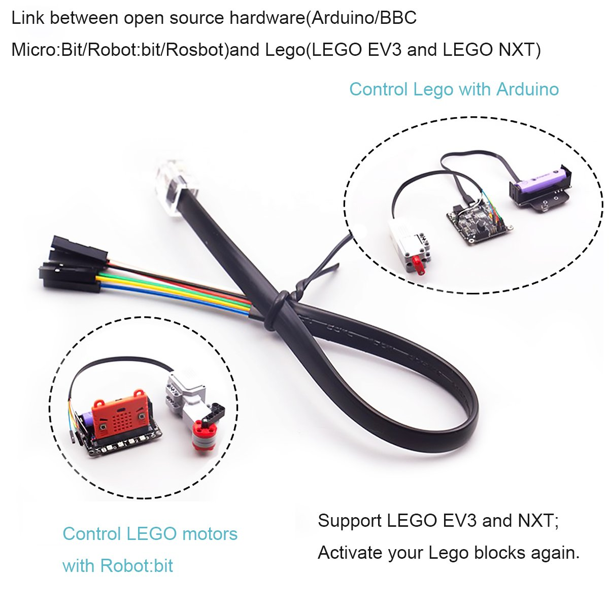 le-go Wire, Le-go Extension Wire Bit with Le-go EV3//NXT MakerFocus 5pcs Le-go Cable Dupont Wire 6 Pins Jumper Wire Female to Crystal 6P6C Connector 25cm for Connecting Arduino//BBC Micro