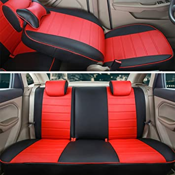Deluxe Red Black PU Leather Front Seat Covers Padded For Mazda 2 3 6 CX-3 CX-5