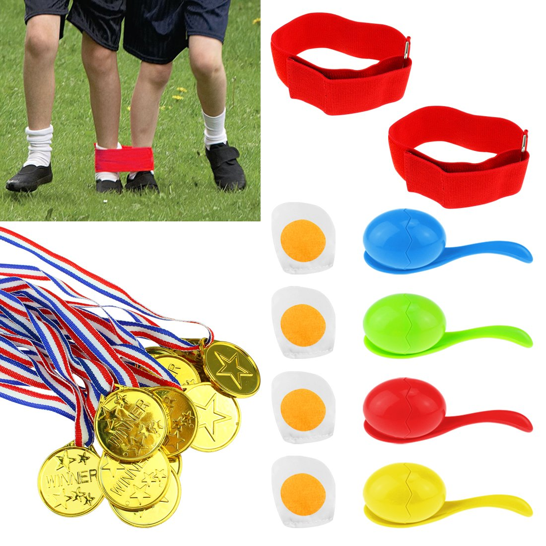 KOMIWOO 3 Legged Race Bands Egg Spoon Relay Race Outdoor Games with Game Prizes(12pcs) for Kids Adults Field Day Game, Fun Family Birthday Team Party Games(2 Bands, 4 Eggs and Spoons)