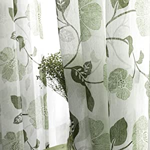 MRTREES Sheer Curtains Floral Printed Bedroom Linen Blend Textured Curtain Sheers Living Room 63 inch Length Window Treatment Set 2 Panels Rod Pocket Olive Flower Leaves Print Drapes Light Filtering