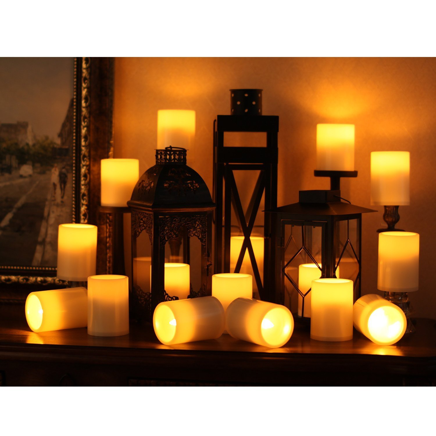 ELEOPTION Indoor/Outdoor Flameless Resin Pillar led Candle with 4 & 8 Hour Timer (24)