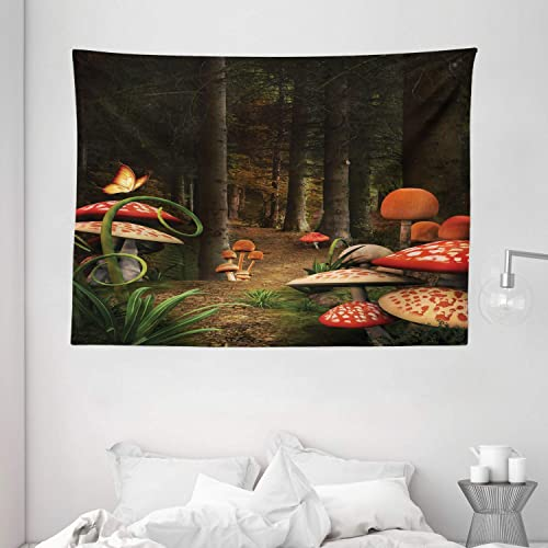 Ambesonne Mushroom Tapestry, Mushrooms in Deep Dark Forest Fantasy Nature Theme Earth Path Mystical Image, Wide Wall Hanging for Bedroom Living Room Dorm, 80 X 60 , Pomegranate Green