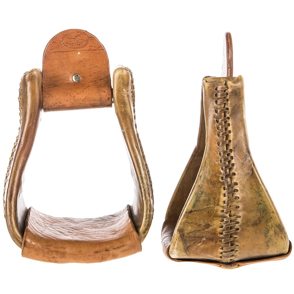 NRS 5 inch Deluxe Bell Overshoe Rawhide Stirrup