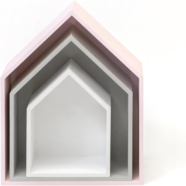 gris MUEMUE Maison B4 Juego de 3 estantes 37,5 x 29 x 12 cm MDF color blanco