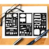 GSS Designs Pack of 3 Plastic Planner Stencils Journal/Notebook/Diary/Scrapbook DIY Drawing Template Stencil 4x7 Inch (SL-001)