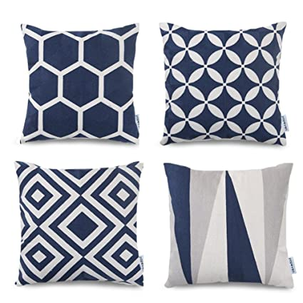 Pleasing Navy Blue Throw Pillow Covers Set Of 4 Geometric Pattern Cushion Slipcovers 18 X 18 Square Accent Linen Decorative Cushion Pillows Dailytribune Chair Design For Home Dailytribuneorg