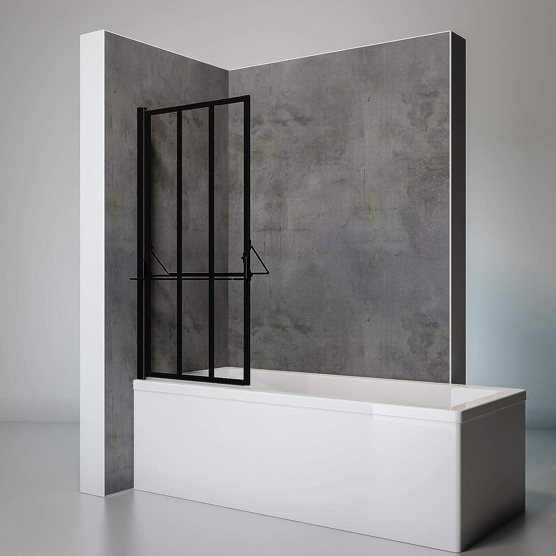 Schulte Pare bañera giratoria con Tablet y toallero con tratamiento antical, pantalla de mampara de bañera plegable, bañera negro, 1 contraventana plegable, 75 x 140 cm: Amazon.es: Bricolaje y herramientas