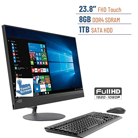 2019 Lenovo Ideacentre Business 520 23 8'' Touchscreen FHD(1920x1080)  All-in-One Desktop PC, AMD A12-9720P 2 7GHz, 8GB DDR4, 1TB HDD, DVD-RW,