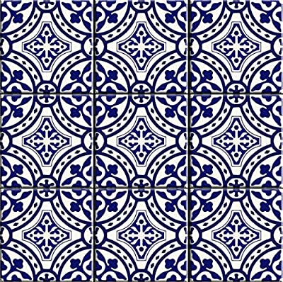 Portugal Terracotta Inspired Tile stickers Kitchen and Bathroom Backsplash Tile ,Wall, Floor Decal, Stair Riser Stickers ,Peel & Stick Home Decor (Pack of 44)