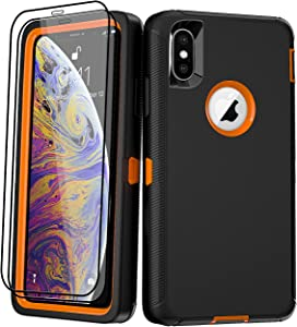 AOPULY for Apple iPhone X/XS Case with Screen Protector, Heavy Duty Full Body Shockproof Military Grade Cover, Rugged 3 in 1 Drop Protection Phone Case iPhone X/XS 5.8