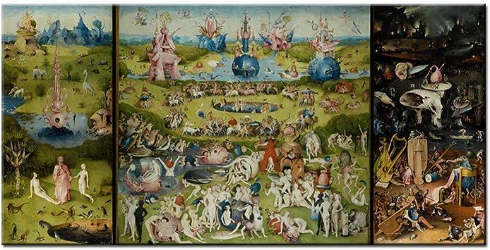 Rjjwai Bosch Hieronymus El jardín de las delicias terrestres Pinturas sobre lienzo Reproducciones Pinturas famosas clásicas para la pared de la sala de estar pintura: Amazon.es: Bricolaje y herramientas