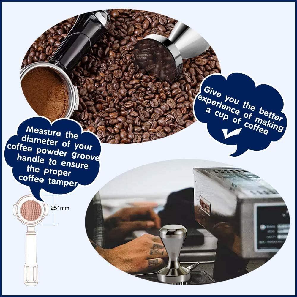 Manomissione caff/è Pressa caff/è espresso Acciaio inossidabile Argento Colore 51mm Manomissione manufatti per caffetteria